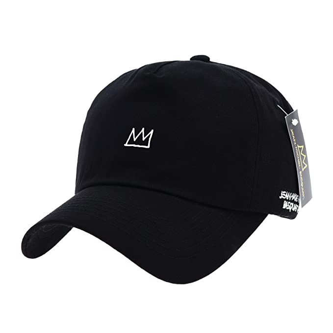 38c7fad3 WITHMOONS Baseball Cap Jean-Michel Basquiat Crown Embroidery CR1719 (Black)