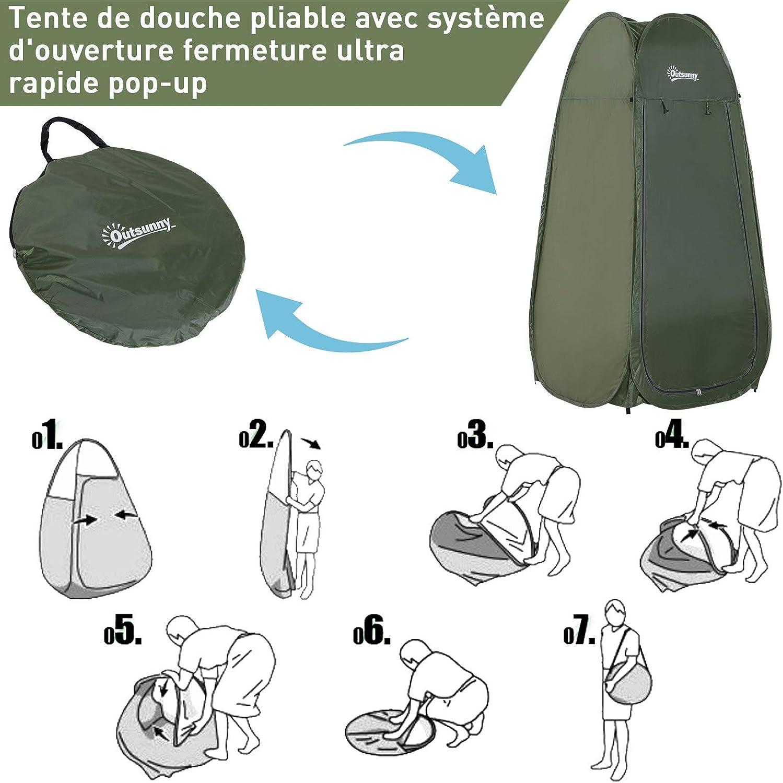 Outsunny Tente de Douche Pliable Pop-up Automatique instantan/ée Cabinet de Changement Camping Polyester