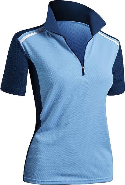 CLOVERY Womens SportWear POLO Shirt Zip-up Pocket Short Sleeve