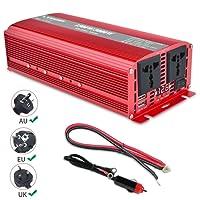 Yinleader Stromwandler 1500 W für Auto, 3000 W (Maximum) Transformator 12 V auf 230 V, Wechselrichter mit 2 Steckdosen + 2 USB und LED-Display, für Auto, Wohnwagen, Boot, Camping, Reisen