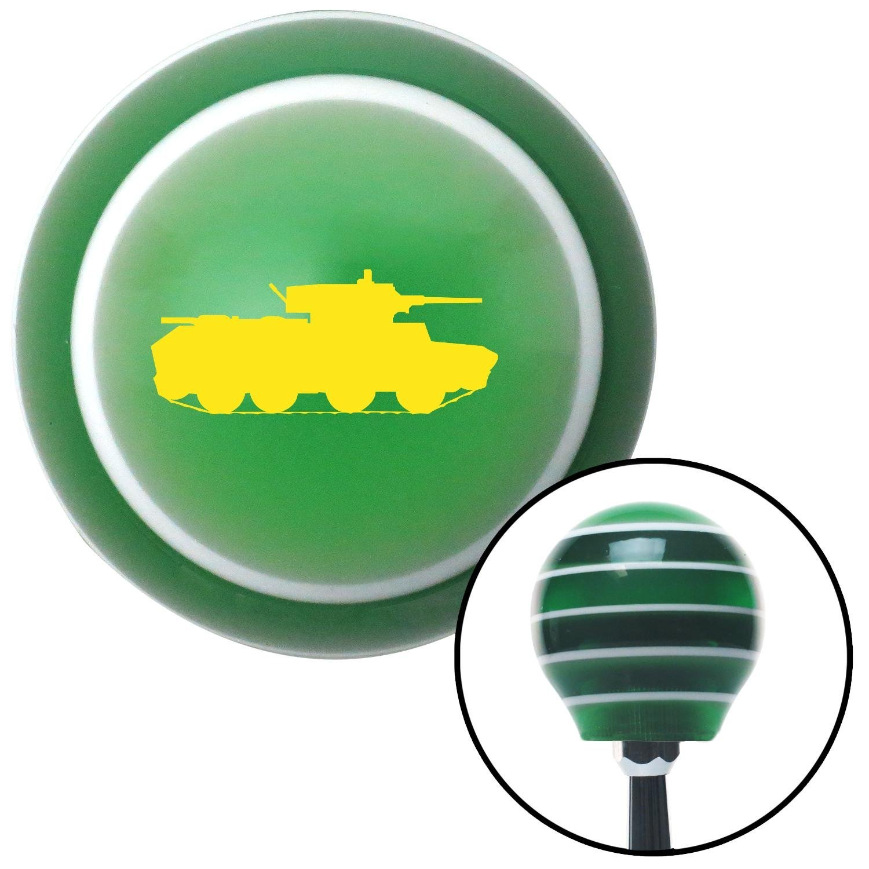 American Shifter 129512 Green Stripe Shift Knob with M16 x 1.5 Insert Yellow Military Tank
