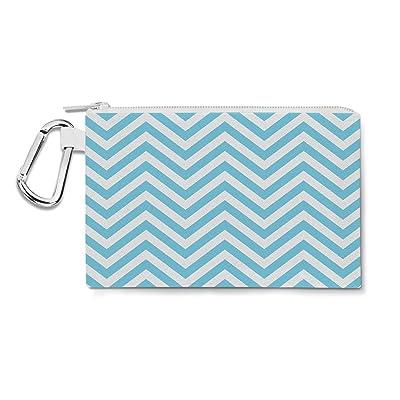 Chevron Stripes Blue - 2XL Canvas Pouch 13x10 inch - Canvas Zip Pouch - Multi Purpose Pencil Case Bag in 6 sizes