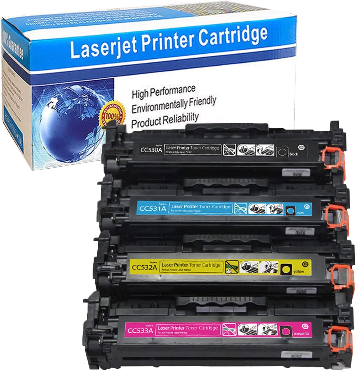 Black Cyan Yellow Magenta, 4 Pack M-online Compatible Toner Cartridge Replacement for HP 304A CC530A CC531A CC532A CC533A Used on Color Laserjet CP2025 CP2025dn CM2320 CM2320n CM2320nf CM2320fxi