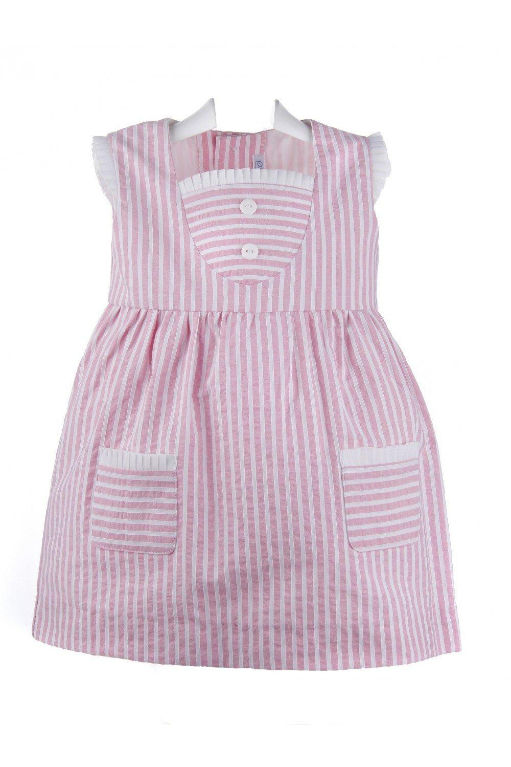 Ancar - Vestido de bebé y niña de batista con rayas rosas y blancas - 12 meses, Rayas rosas y blancas: Amazon.es: Bebé