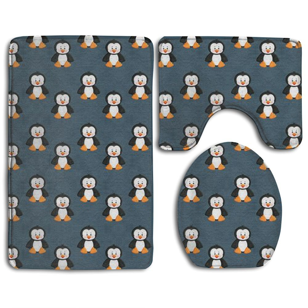 Penguin Animal Super Plush Bathroom Rugs Set Super Absorbent Bath-rugs Large Lid Toilet Cover And Bath Mat by Pqqgn (Image #1)