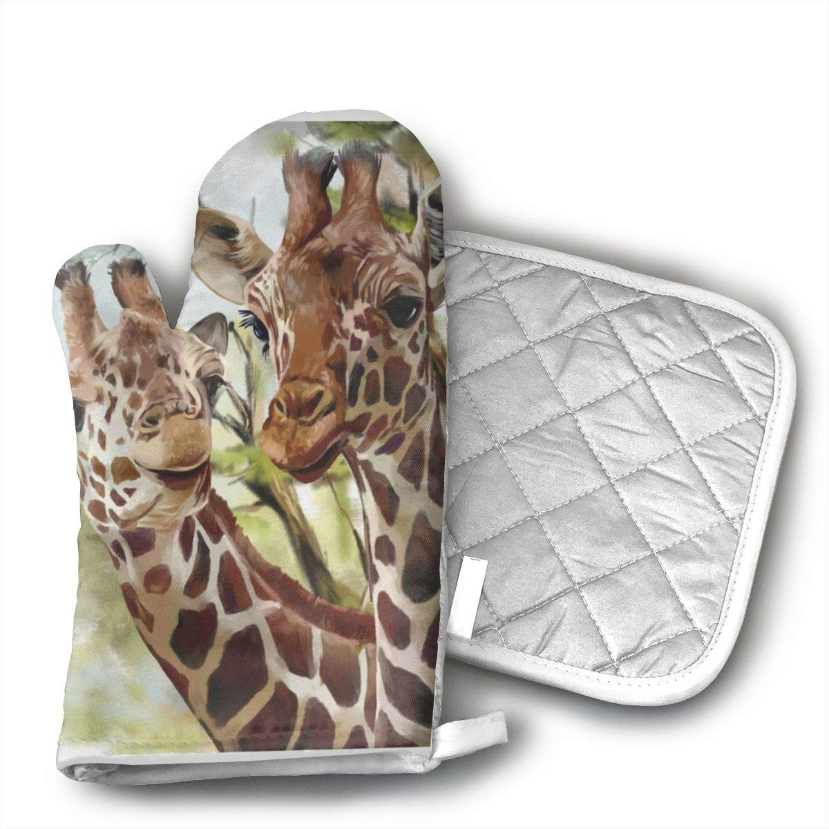Wiqo9 Watercolor Deer Giraffe Long Oven Mitts and Pot Holders Kitchen Mitten Cooking Gloves,Cooking, Baking, BBQ.