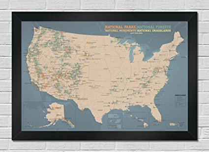 Map Of Usa Forests.Amazon Com Usa National Parks Monuments Forests Map Premium
