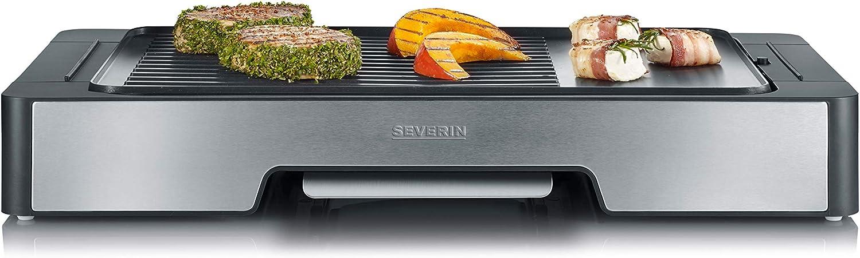 Severin PG 8615 Plancha con Placa de Grill, Negro/Acero Inoxidable - Cepillado, 2400 W - 45 x 27 cm