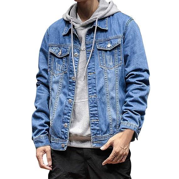 Geilisungren Herren Jacke Jeansjacke Ripped Denim Jacket Männer Herbst Winter Umlegekragen Knöpfen Langarm Bluse Vintage Jeans Jacke Outwear Mantel