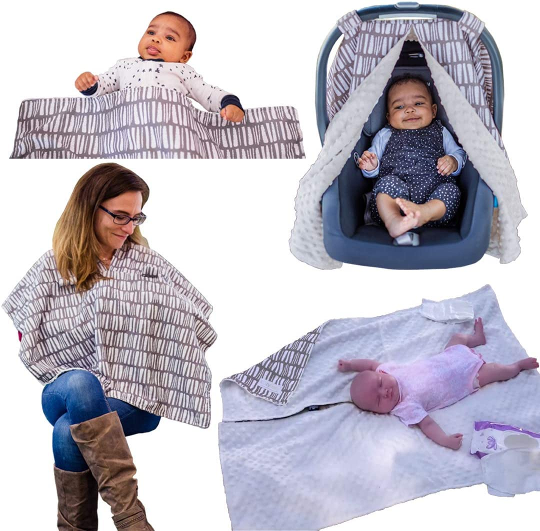 Baby Car Seat /& Stroller Cover Baby Change Mat /& Ultra-Soft Baby Blanket The World/'s Softest 4-in-1 Carseat Canopy /& Nursing Cover by CozyBaby Nursing Cover Breastfeeding Scarf 4 Uses Black