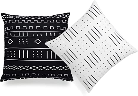 African Throw Pillow 20x20 Ethnic pillow cover African Pillow White Mudcloth Pillow Black on White Farmhouse Pillow Cover Sofa Cushion