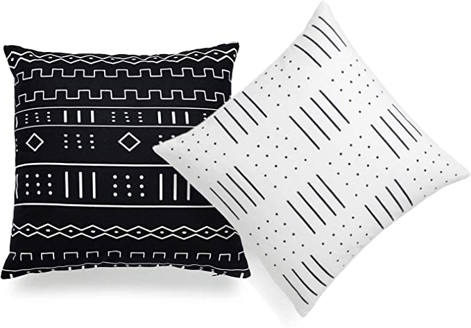Hofdeco African Mudcloth Pillow Cover Only Black And White Arrowhead 18 X18 Set Of 2 Home Kitchen