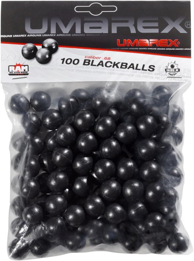 Umarex U25802. Bolsa 100 bolas de goma maciza ram paintball. Calibre .68