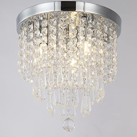 Zeefo crystal chandeliers modern pendant flush mount ceiling light fixtures 3 lights h10