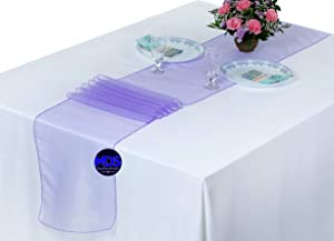 mds Pack of 10 Wedding 12 x 108 inch Organza Table Runner for Wedding Banquet Decor Table Runner- Lavender