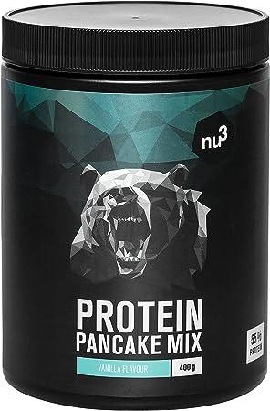 nu3 Pancakes con proteína - 400 g de mezcla para tortitas sabor neutral - 28 g de proteína de leche por porción - Perfecto como desayuno rápido y ...