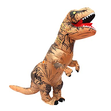 halloween adult inflatable t rex dinosaur party costume funny dress brown with backpack and usb cable