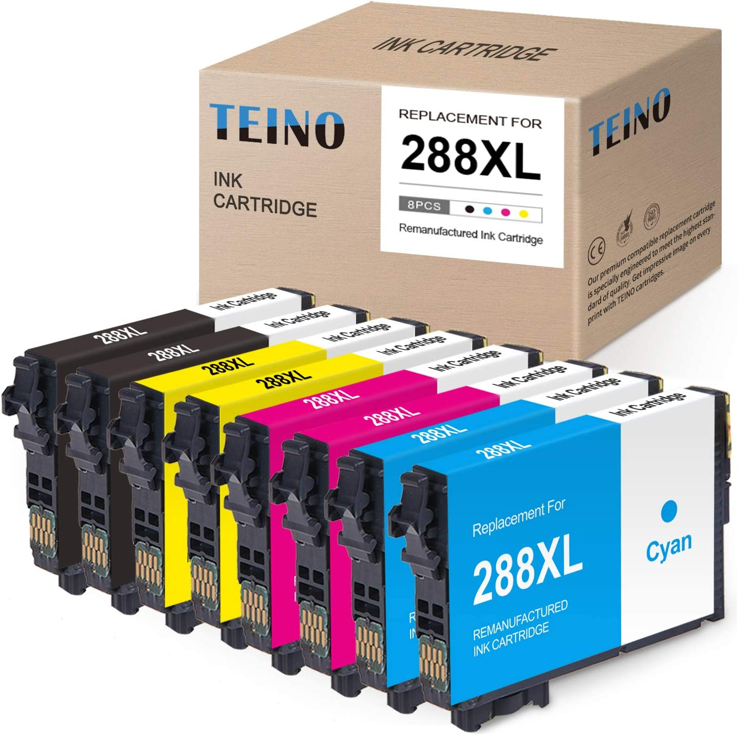TEINO Remanufactured Ink Cartridges Replacement for Epson 288XL 288 XL T288XL use with Epson Expression Home XP-446 XP-430 XP-440 XP-330 XP-340 XP-434 (Black, Cyan, Magenta, Yellow, 8-Pack)