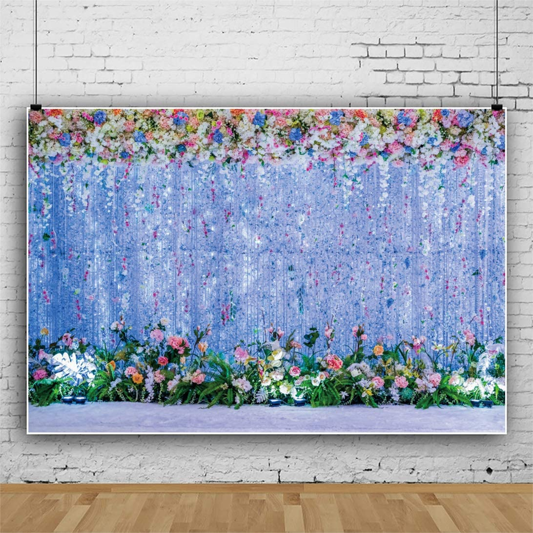 Yeele 10x8ft Blooming Wedding Flower Decoration Backdrop Dreamy Blue Wall Elegant Wedding Ceremony Photoshoot Background Bridal Shower Engagement Anniversary Floral Marriage Photographic Wallpaper