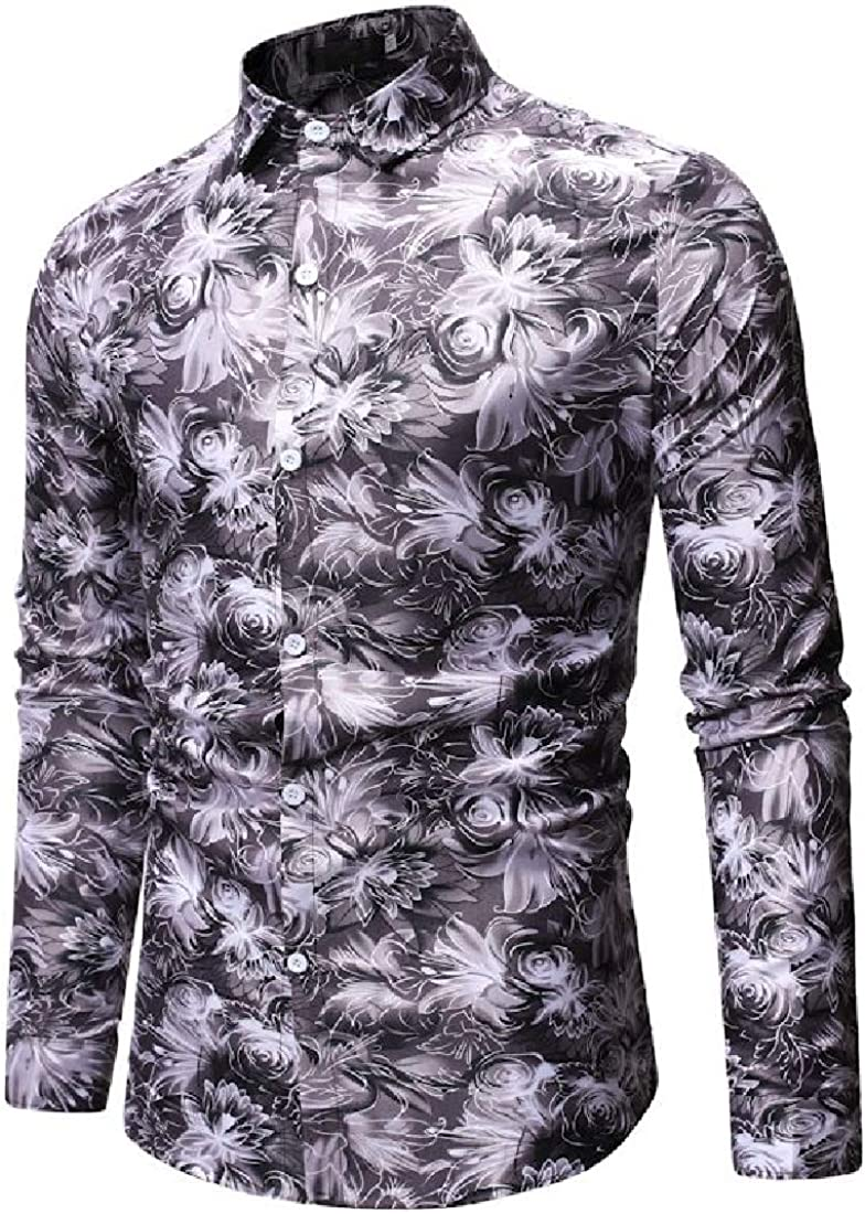 Mens Plus Size Printing Pattern Long Sleeve Casual Dress Shirts