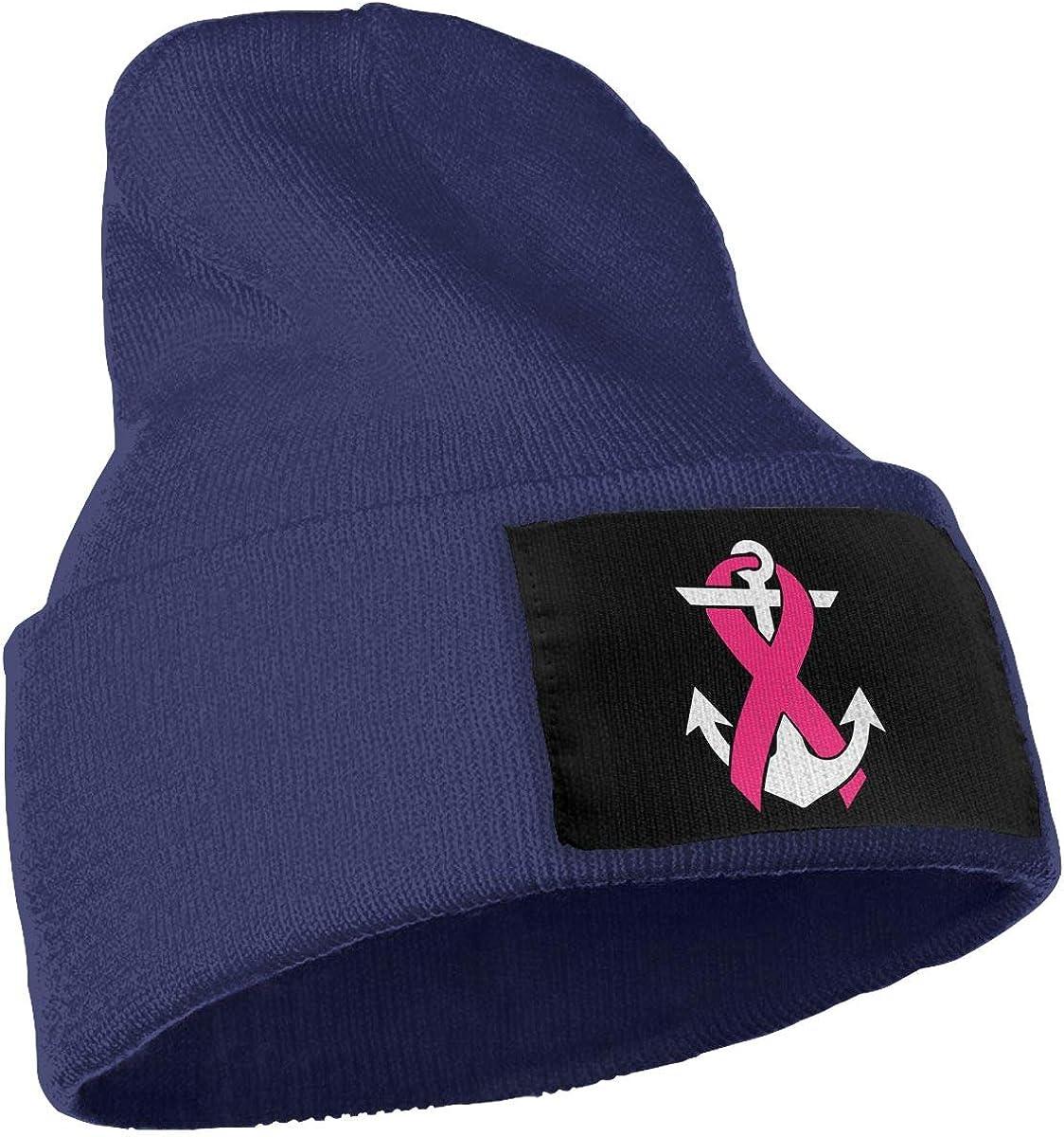 Men /& Women Breast Cancer Awareness Anchor Outdoor Warm Knit Beanies Hat Soft Winter Skull Caps