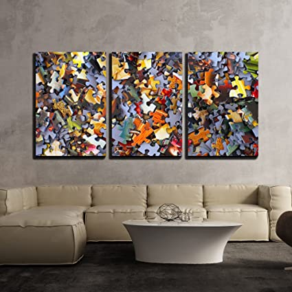 amazon com wall26 3 piece canvas wall art colorful puzzle