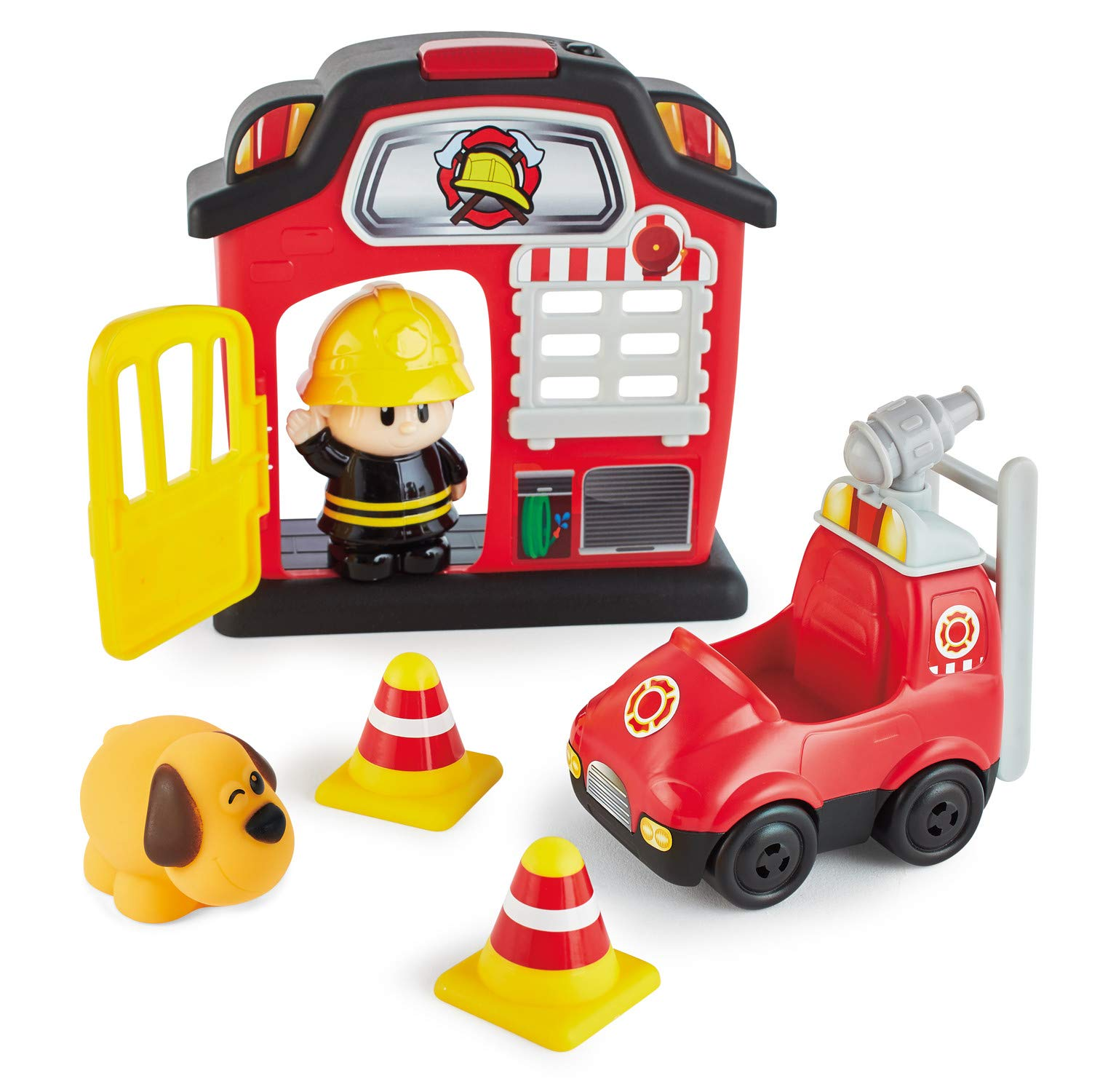 Kidoozie Lights 'n Sounds Fire Station – 12 Piece Playset