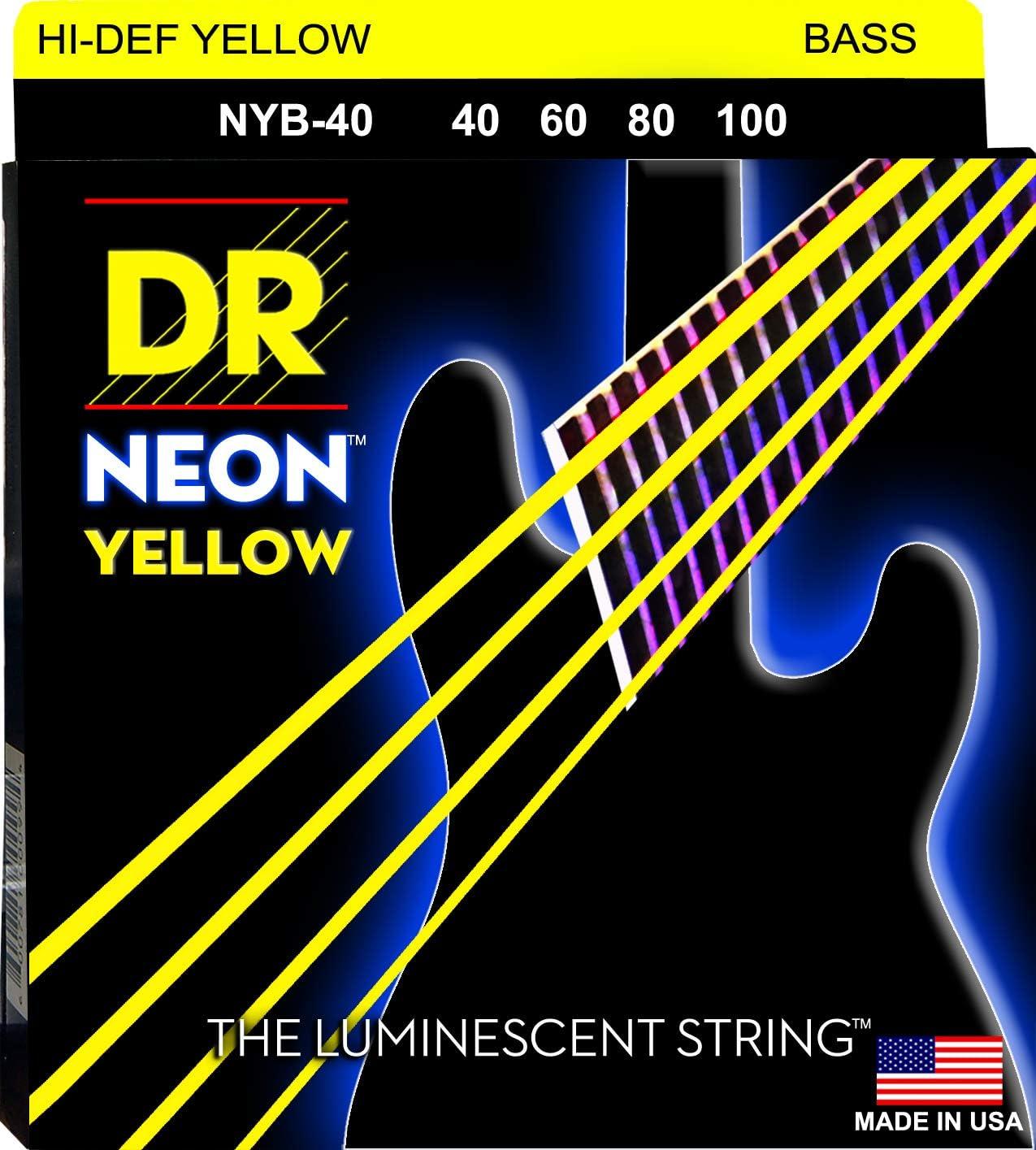 DR Cuerdas HI-DEF NEON cuerdas para bajo guitarra (NYB-40)
