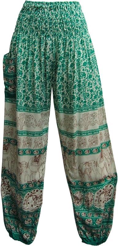 Amazon Com Indian Bohemian Gypsy Elephant White Print Yoga Meditacion Pantalones Haren Harem Talla Unica Clothing