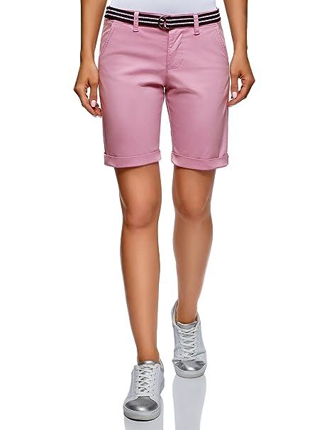 oodji Ultra Mujer Pantalones Cortos de Algodón con Cinturón y Cierre de  Botones  Amazon.es  Ropa y accesorios 189b0cc8f9b