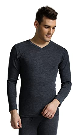 0508e401663 Palm® Mens 100% Wool Seamless Long Sleeve V Neck Thermal Top Base Layer   Size XL