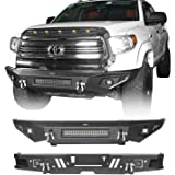 Hooke Road Tundra Bumper Full Width Front Bumper & Rear Step Bumper Kit Compatible with Toyota Tundra 2014 2015 2016 2017 201