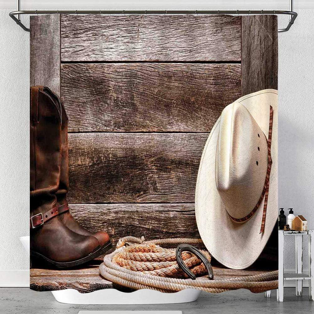 Cortina de Ducha Impermeable,American West Rodeo Sombrero de Vaquero Tradicional de Paja Botas de Cuero Imprimir,Cortinas baño con Ganchos Lavable a Máquina