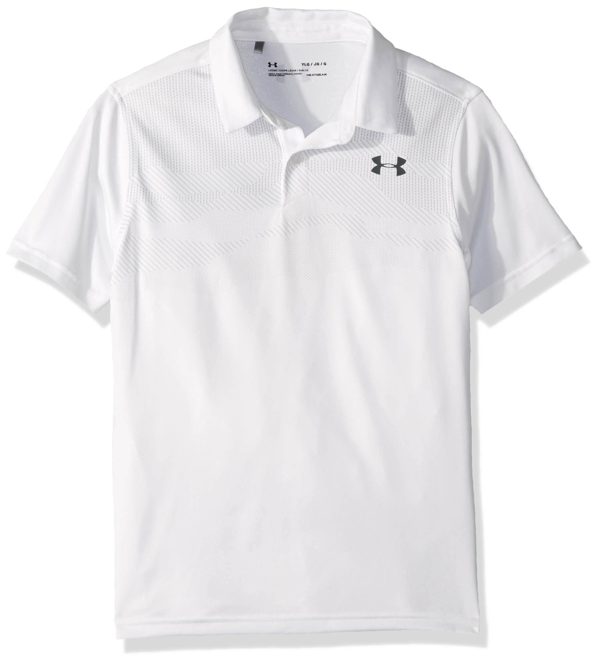 Under Armour Tour Tips Engineered Polo, White//Pitch Gray, Youth X-Small