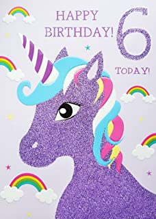 Twizler 6th birthday card for girl with magical unicorn fairies 6th birthday card for girl unicorn rainbows glitter card happy birthday 6 today bookmarktalkfo Image collections