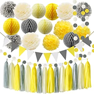 Furuix Yellow Grey Elephant Baby Shower Decorations You are My Sunshine Party Decoration Gray and Yellow Nursery Decor Honeycomb Balls for Bridal Shower Birthday Decorations