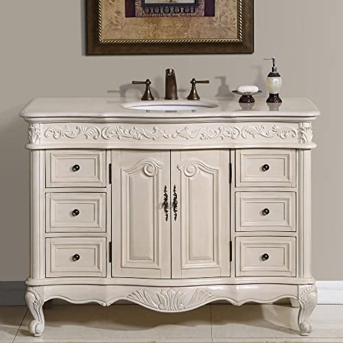 Silkroad Exclusive Countertop Marble Single Sink Bathroom Vanity with White Oak Finish Cabinet, 48
