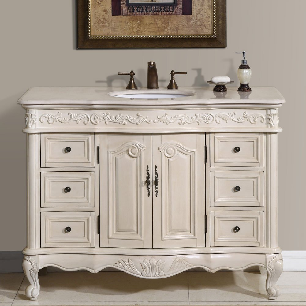 amazoncom silkroad exclusive countertop marble single sink bathroom vanity with white oak finish cabinet 48 inch home kitchen - White Bathroom Cabinets And Vanities