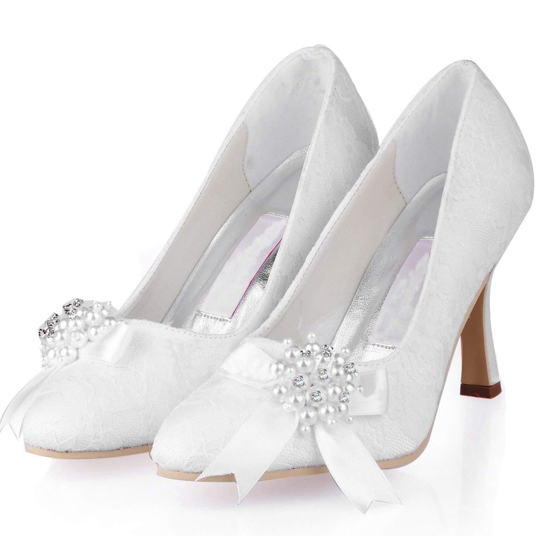 Qiusa Qiusa Qiusa damen MZ563 Round Toe High Heel Perlen Broknot Spitze Braut Pumps (Farbe   Weiß-9cm Heel, Größe   6 UK)  bb422d