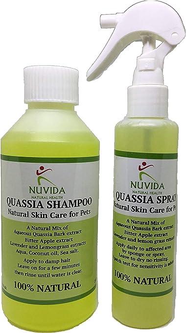 Quassia Champú y Spray DUO Pack/Natural Cuidado de la piel para perros, cachorros, gatos/todos los ingredientes naturales/Alivio de la piel picante/ alergia a las pulgas/picazón dulce/ácaros y mango/calma rápidamente la piel.: Amazon.es: Productos