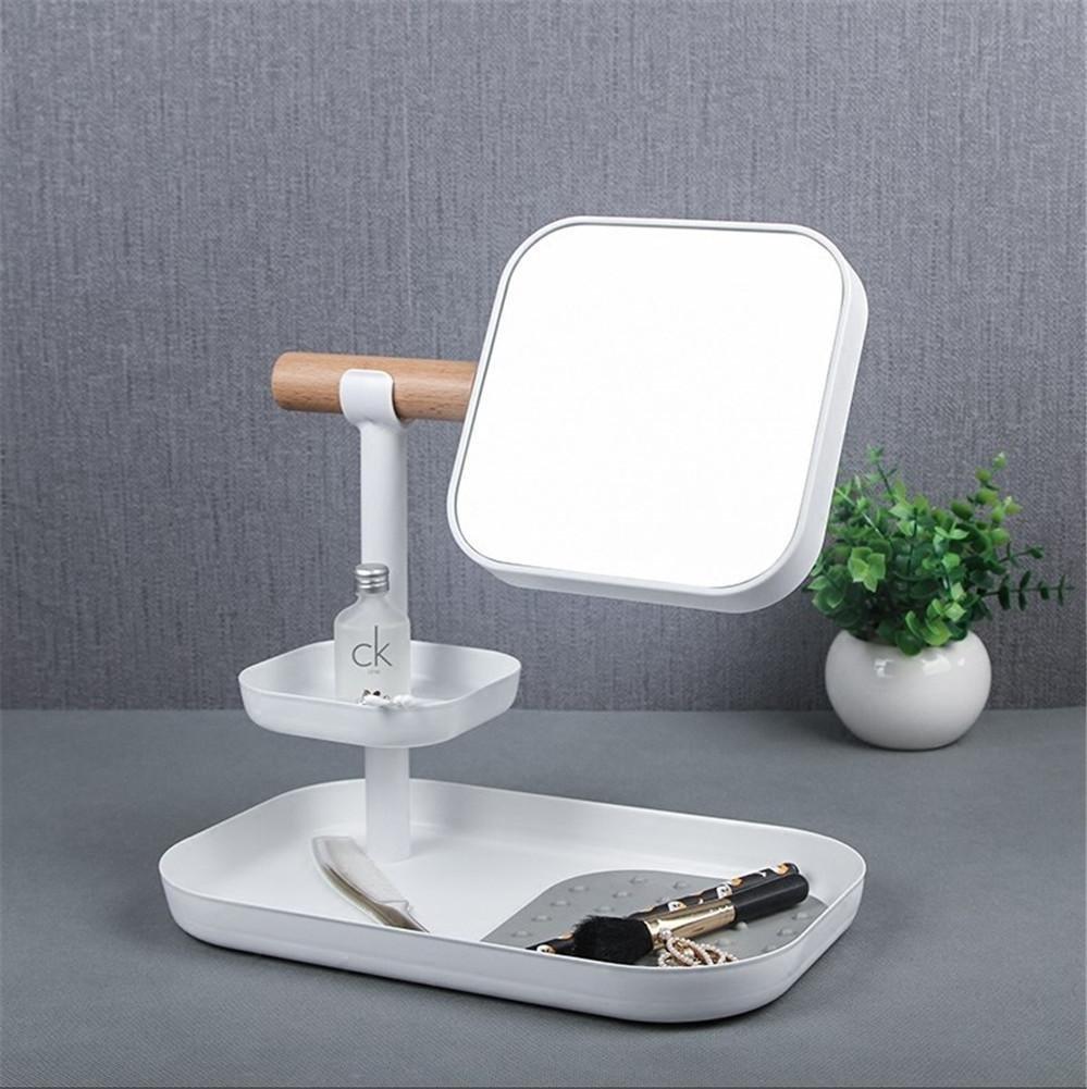 HAPPYMOOD Miroir de maquillage Maquillage de stockage Organisateur Loupe Toucher Dimmable Fonction de mémoire Lumi