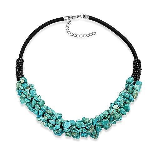 042304fded5f Bling Jewelry Azul Turquesa Mejorada Cluster Chip IMITACIÓN Cuero Negro  Boho Collar Gargantilla Collar Ajustable para Mujeres  Amazon.es  Joyería