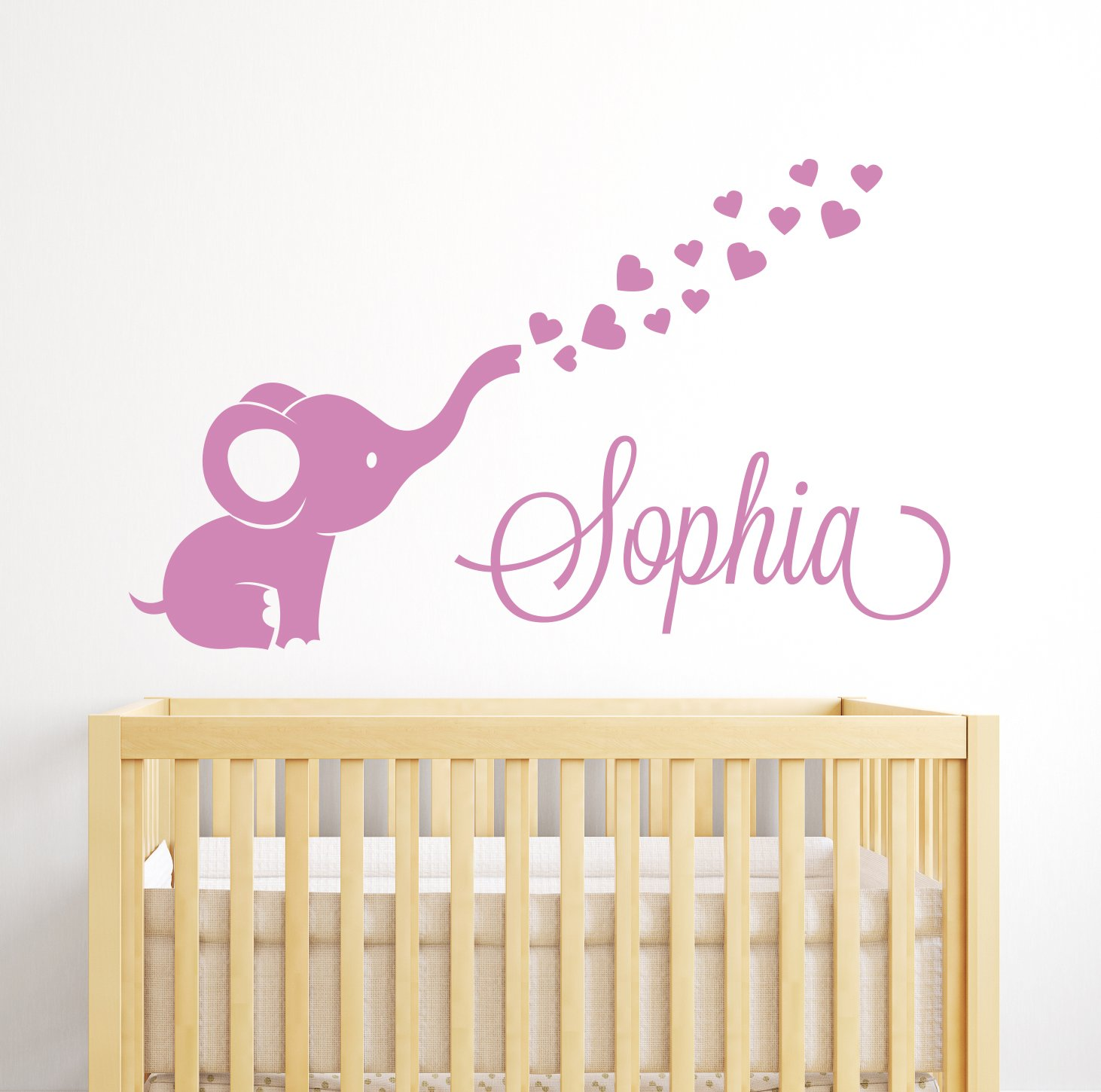 Custom Elephant Hearts Name Wall Decal - Elephant Baby Room Decor - Nursery Wall Decals - Elephant Vinyl Sticker for Girls