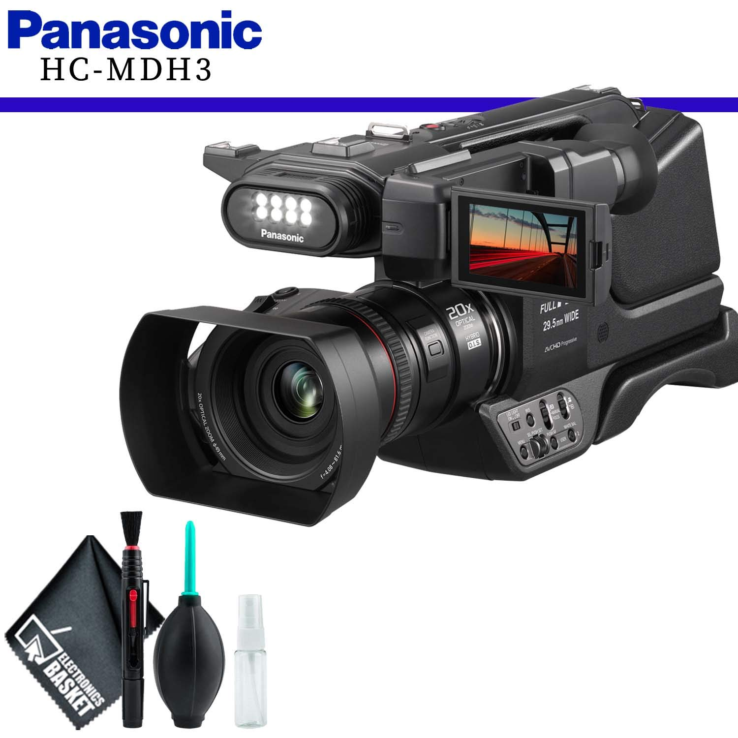 Panasonic HC-MDH3 AVCHD (PAL) Shoulder Mount Camcorder with LCD Touchscreen & LED Light and Cleaning Kit by Panasonic