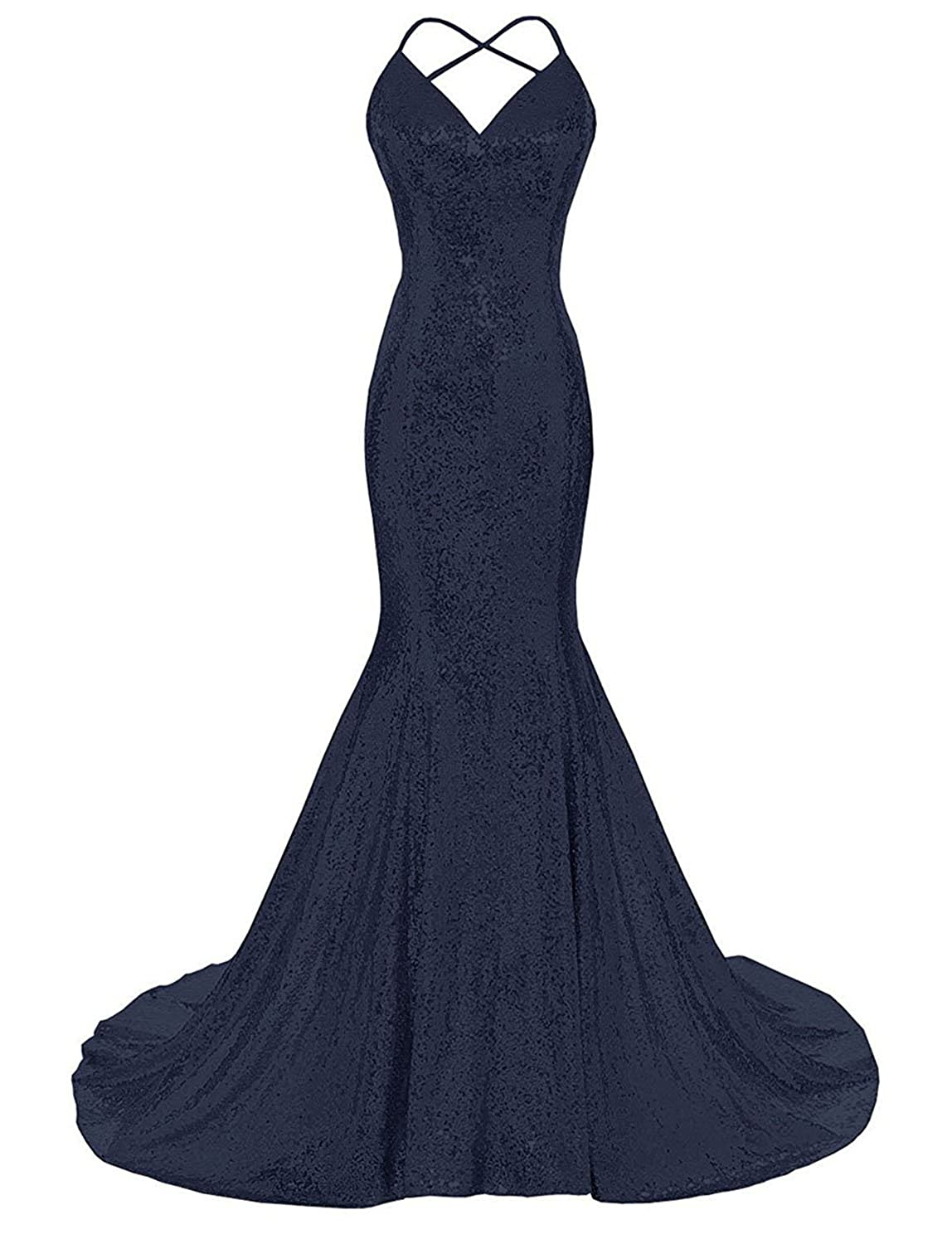 Navy bluee Monalia Women's 2018 Formal Evening Dresses Sequined Mermaid Prom Gowns EV4