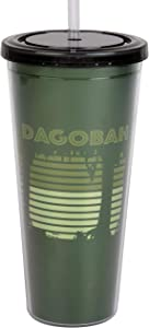 Star Wars Dagobah Acrylic Travel Tumbler with Straw - Fun Retro Dagobah Design - Insulated Lining Keeps Drinks Cold - Large 22 oz