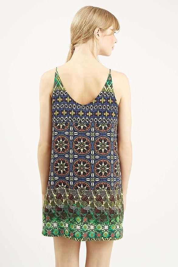 Topshop Petite Tile Print Slip Dress Green (UK 6): Amazon.co.uk: Clothing