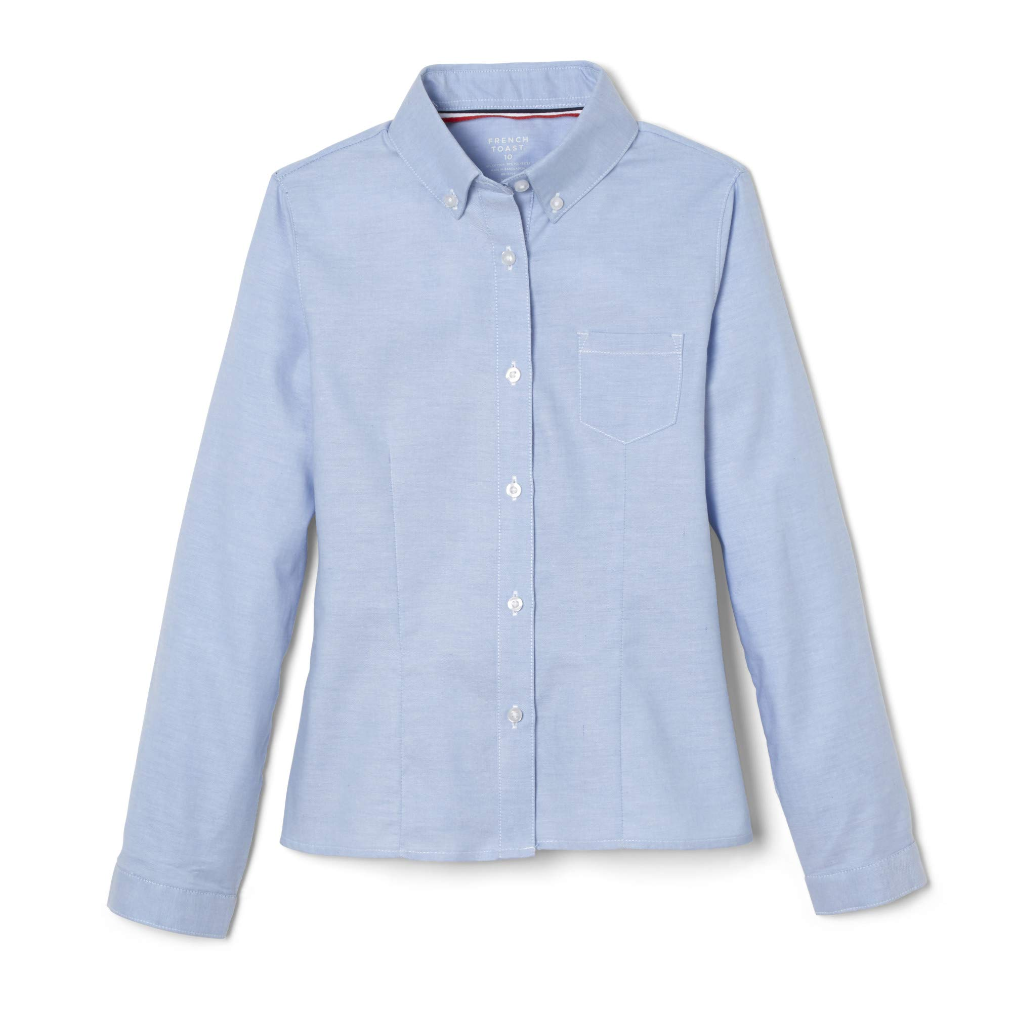 French Toast Big Girls' Long Sleeve Button Down Oxford, Light Blue, 16
