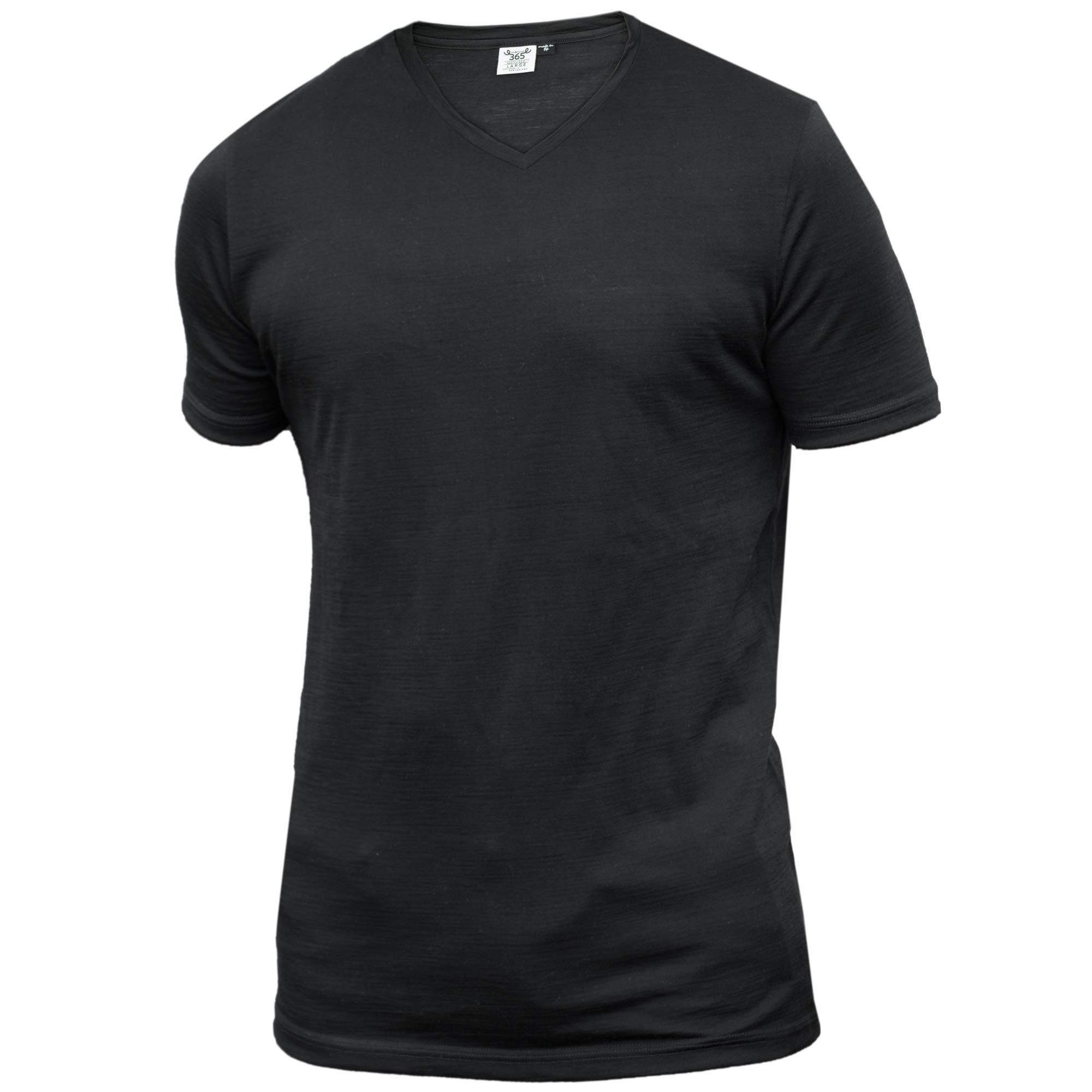 Merino 365 Men's Crew V Neck Short Sleeve Medium, Black