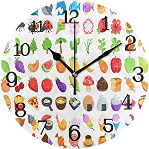 SALLYLOU Wall Clocks Battery Operated Non Ticking, Food-Drink s Round Decorative Living Room Wall Clock